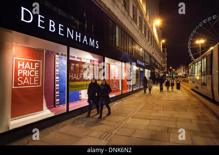 Debenhams late night discount window display, in Market street, near to where for the first time Piccadilly Gardens - Stock Photo