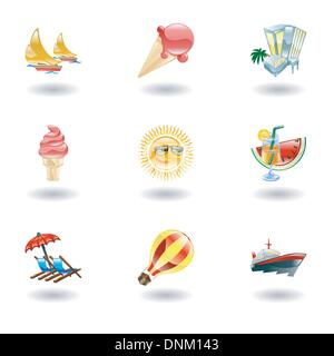 A set of glossy sunny summer icons - Stock Photo