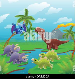 Cute dinosaurs in prehistoric scene. Series of three illustrations that can be used separately or side by side to - Stock Photo