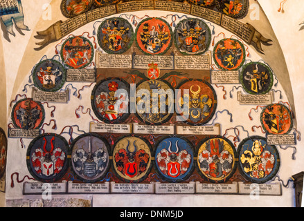 Prague Castle. Ceiling of room containing land heraldics in Registry Office. Old Royal Palace. Czech Republic - Stock Photo