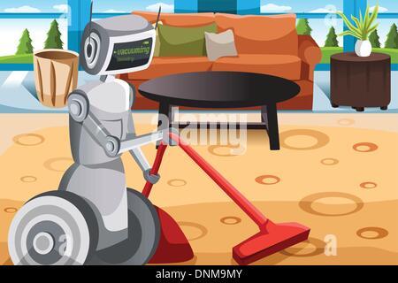 A vector illustration of a robot vacuuming carpet - Stock Photo