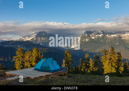 A Campsite near Elfin Lakes in Garibaldi Provincial Park - Stock Photo