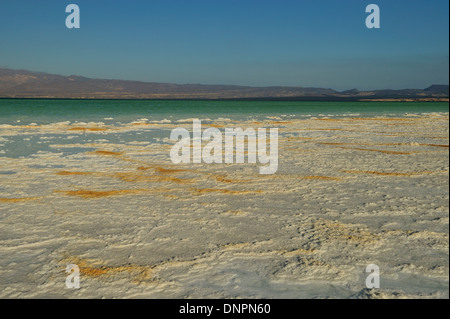 salt plates dried by the sun on the shores of Lake Assal, Djibouti - Stock Photo