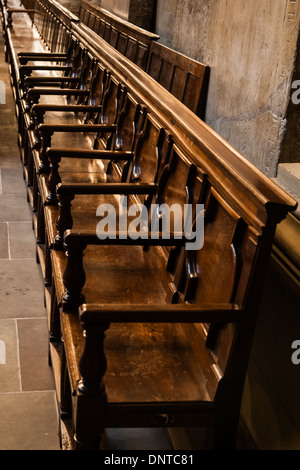 Wooden seating inside the Cathedral of St. Pierre, Geneva, Switzerland - Stock Photo