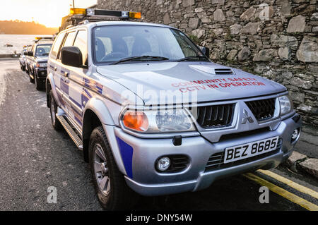 Portaferry, Northern Ireland. 6 Jan 2014 - Community Safety vehicles parked in readiness to help potential victims - Stock Photo