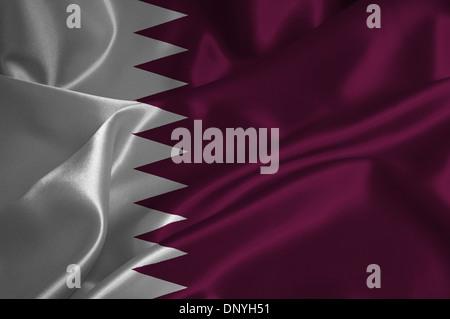 Qatar flag on satin texture. - Stock Photo