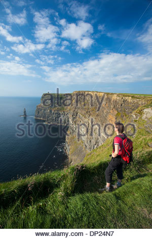 Walker on the Cliffs of Moher Coastal Path, County Clare, Ireland. - Stock Photo