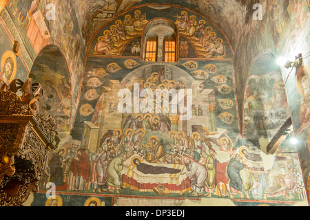 Frescoes on church walls Holy Mother of God Peribleptos Church Ohrid Macedonia Built in 1295 examples of Byzantine - Stock Photo