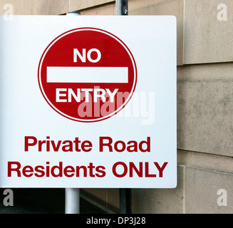 No Entry sign for private road - Stock Photo