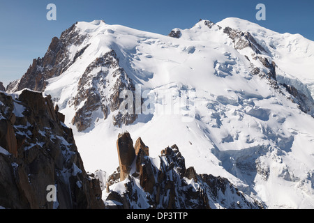 Climbing in Mont Blanc, Chamonix, French Alps, Savoie, France, Europe - Stock Photo