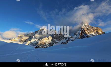The Pale di San Martino massif. The Dolomites. - Stock Photo