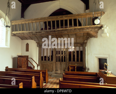 Late 15th century (AD1495) carved and painted, oak rood screen and loft inside St Eilian's Church, Llaneilian, Anglesey. - Stock Photo