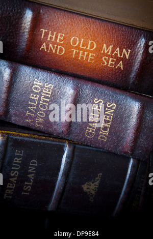 Collection of classic antique books from historic authors - Stock Photo