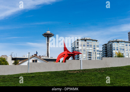 View of the Space Needle and Olympic Sculpture Park from the waterfront.  Seattle, Washington - Stock Photo