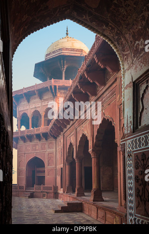 The Taj Mahal is a white marble mausoleum located in Agra, Uttar Pradesh, India - Stock Photo