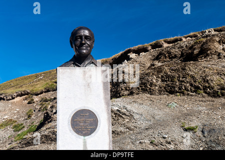 Statue of Jacques Goddet (1905-2000), director of the Tour de France, at the top of the Col du Tourmalet in the - Stock Photo