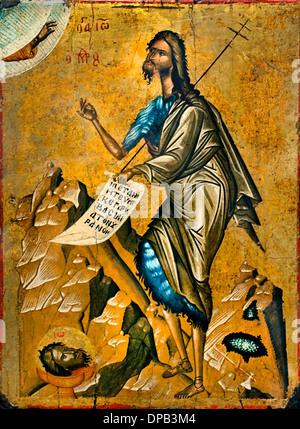 Saint Jean Baptiste Crete Greece today in 1500 Greek Icon - Stock Photo