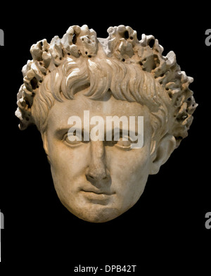 Roman Emperor AUGUSTUS 63 BC - 14 AD Rome Italy civic crown awarded by the Senate from Cerveteri  marble Italy - Stock Photo