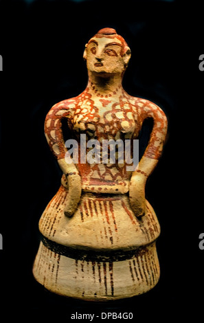 Lady in Cretan costume flounced skirt pigtail neck Bracelets found in Sparta 1400 BC  Greek Greece - Stock Photo