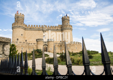Spain, Manzanares el Real, Madrid, New Castle or Mendoza Castle - Stock Photo