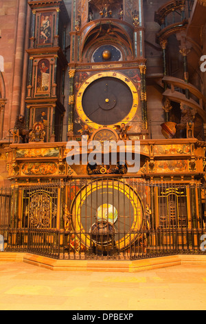 The astronomical clock in Strasbourg cathedral. - Stock Photo