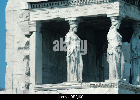 Porch of the Maidens or Caryatids of Erechtheion Iconic Temple (421-406BC) Athens Greece - Stock Photo