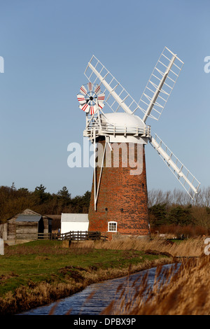 Horsey Wind Pump, or Horsey Mill as it is also known, an old drainage pump on reclaimed land in Norfolk, eastern - Stock Photo