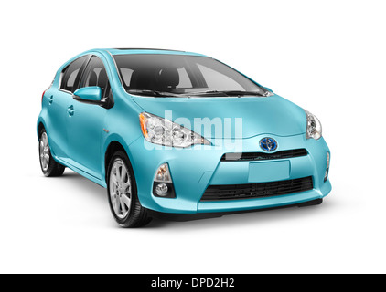 Blue 2013 Toyota Prius C mid-size hybrid car isolated on white background with clipping path - Stock Photo