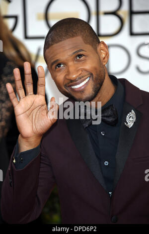 Los Angeles, USA. 12th January 2014. Usher attends the 71st Annual Golden Globe Awards aka Golden Globes at Hotel - Stock Photo