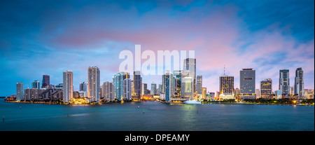 Skyline of Miami, Florida, USA at Brickell Key and Miami River. - Stock Photo