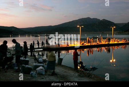 (Published 8/13/2006, N-1) August 11, 2006, Poway, California_View of Lake Poway after dusk and nearing darkness - Stock Photo