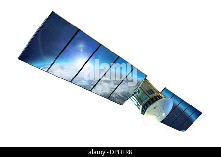 Communication Satellite Isolated on White. Communication Technology Concept Illustration. - Stock Photo