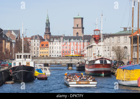 View along Frederiksholms Canal towards the Church of Our Lady, Copenhagen Denmark - Stock Photo