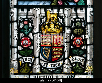 Royal coat of arms stained glass, All Saints Church, Kings Langley, Hertfordshire, England, UK - Stock Photo