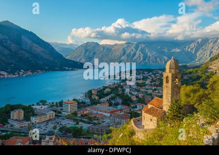 Belltower and view of Kotor along St. Giovanni Trail, Kotor, Montenegro Mediterraean Sea - Stock Photo