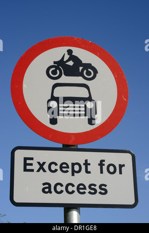 no entry warning sign road for vehicle except for excess united kingdom - Stock Photo