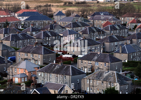 Row of houses in the Raploch area of Stirling, Scotland, UK - Stock Photo