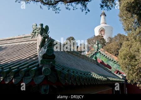 Bai Ta stupa (known as White Pagoda or White Dagoba) in Beihai Park, Xicheng District, Beijing, China - Stock Photo