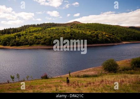 Win Hill summit seen from the A57 across Ladybower Reservoir in the Peak District National Park - Stock Photo