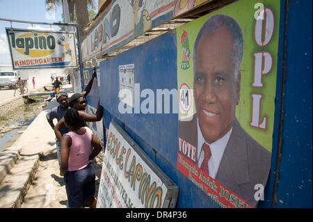 Apr 21, 2009 - Gonaives, Haiti - An election poster pasted on the wall of a street in Gonaives, Haiti, following - Stock Photo