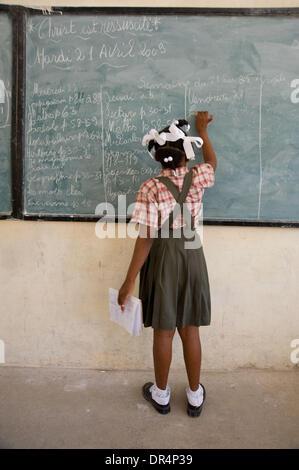 Apr 21, 2009 - Gonaives, Haiti - School children during class at a school rehabilitated by an international aid - Stock Photo