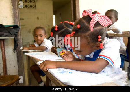 Apr 21, 2009 - Gonaives, Haiti - Young female students in a classroom which was reopened after Hurricanes Ike, Hanna - Stock Photo