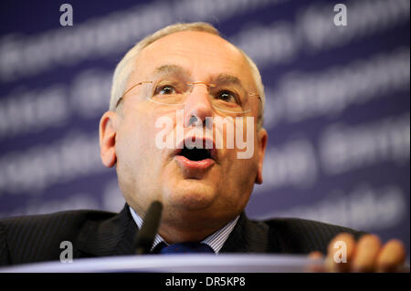 EU Home Affairs Commissioner Vice-President of European Commission, French Jacques Barrot (in the picture) and President - Stock Photo