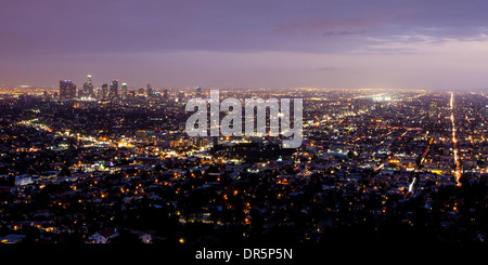 The view from Griffith Observatory on a stormy evening at sunset in Los Angeles, California, USA - Stock Photo