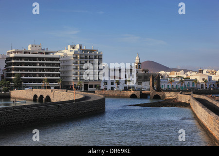Bridges to the Castillo de San Gabriel, right, the ball bridge, Puente de las Bolas, Lanzarote, Canary islands, - Stock Photo