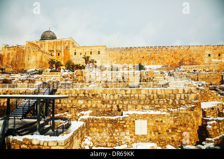 Ophel ruins in the Old city of Jerusalem, Israel - Stock Photo