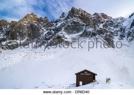 Bar du Plan de l'Aiguille (2317m) reached by the Aiguille du Midi Mont-Blanc cable car in Chamonix (France) - Stock Photo
