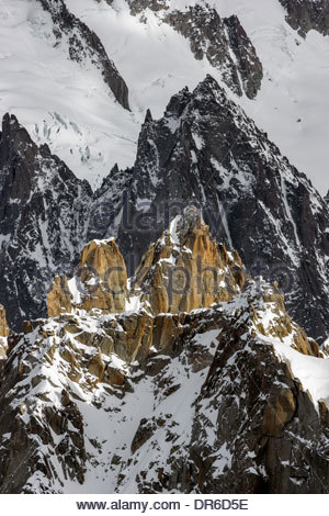 View from the Aiguille du Midi in Chamonix (France) - Stock Photo
