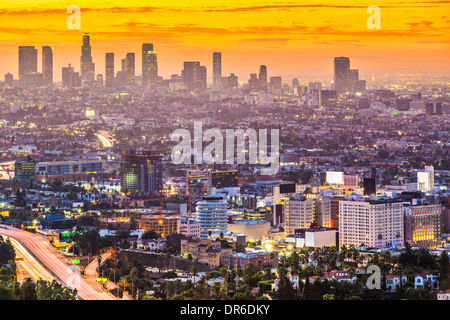 Los Angeles, California, USA early morning downtown cityscape. - Stock Photo