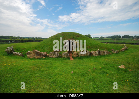 Prehistoric Burial Chamber of Bryn Celli Ddu, on the Isle of Anglesey, Wales - Stock Photo